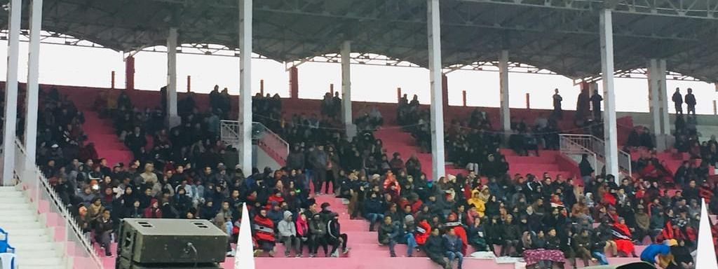 A section of the crowd before the start of the second semi-final match between Sikkim and Arunachal Pradesh in Kohima