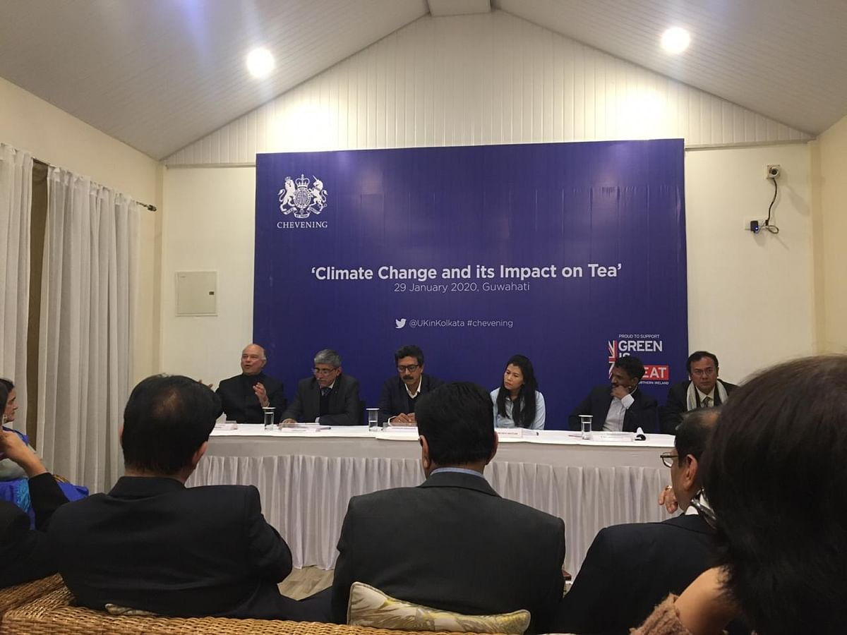 From left to right: The panel consisting of Prabhat Kamal Bezboruah, chairman, Tea Board & Tea Research Association; Mrinal Krishna Chaudhury, assistant director, Assam Energy Development Agency; Professor Chandan Mahanta, IIT-Guwahati; moderator  Nandini Devi Mutum, Chevening alumnus & assistant VP, Axis Bank; K Balamurugan, Conservator of forests, West Bengal; Ochintya Sharma, Chevening alumnus & independent consultant