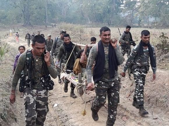CRPF jawans carry pregnant woman on cot for 6 km in Chhattisgarh