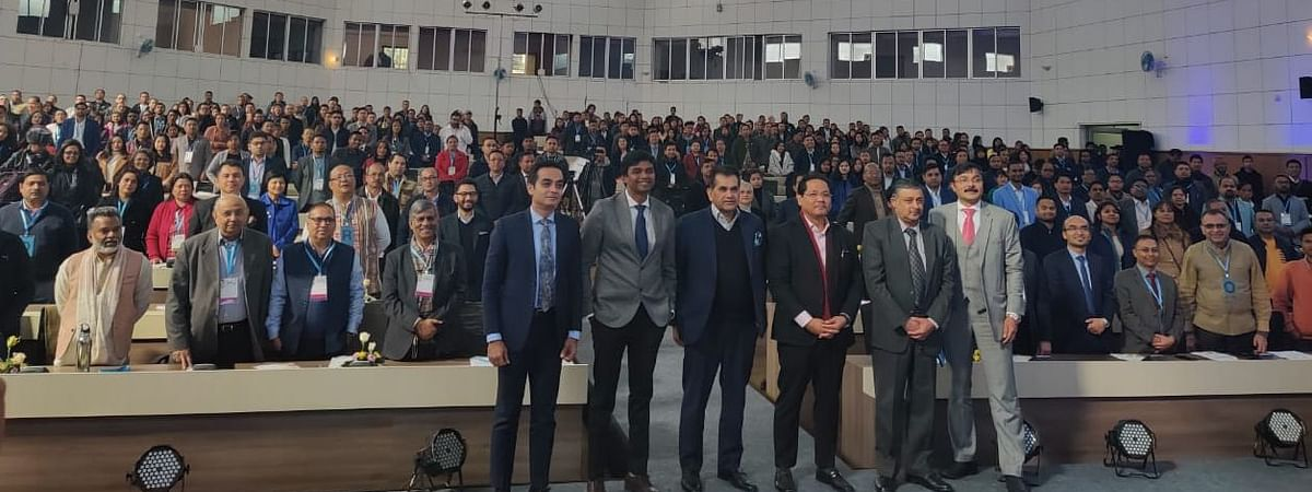 Meghalaya chief minister Conrad K Sangma with NITI Aayog CEO Amitabh Kant, among others, at the first Entrepreneurship & Startup Summit in Shillong on Tuesday