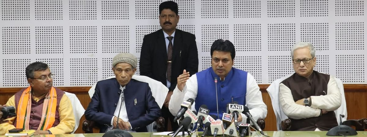 Tripura chief minister Biplab Kumar Deb addressing a press conference in Agartala on Friday