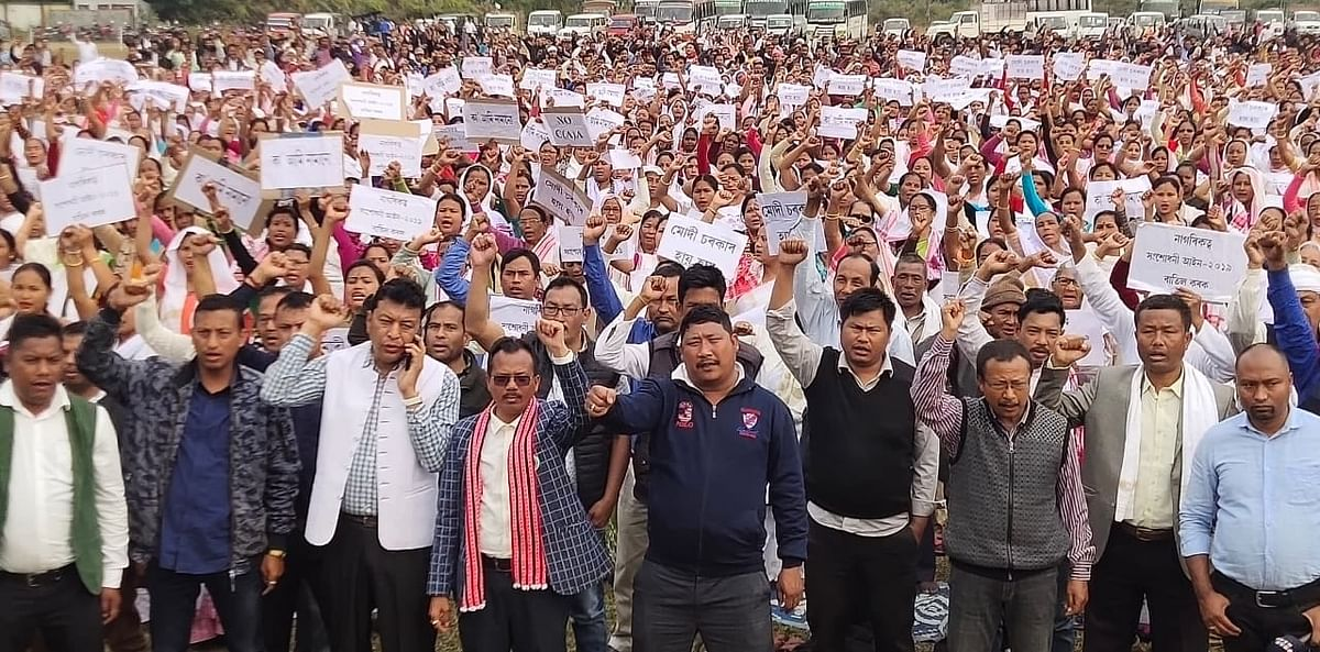 Nearly 3,000 locals with placards in hands attended the protest meeting on Sunday