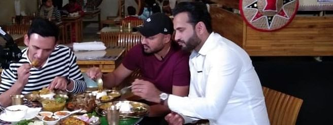 (From right) Irfan Pathan, Harbhajan Singh and Jatin Sapru enjoy a traditional Assamese meal at a restaurant in Guwahati, Assam on Sunday afternoon
