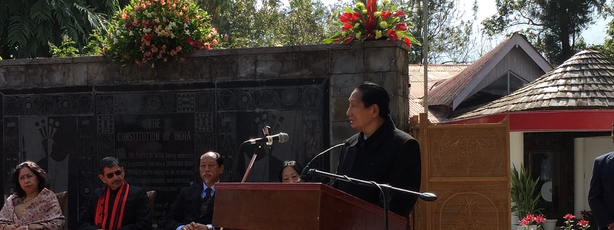 Former Nagaland CM SC Jamir addressing the gathering at Raj Bhavan in Kohima on the occasion of 71st Republic Day on Sunday