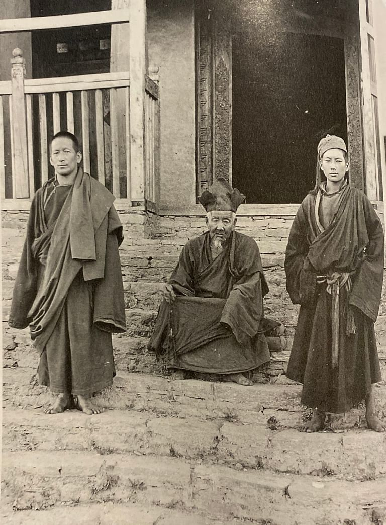 The Head Lama of Pemayangtse monastery, West Sikkim with other monks photographed by W.H Connell in 1909