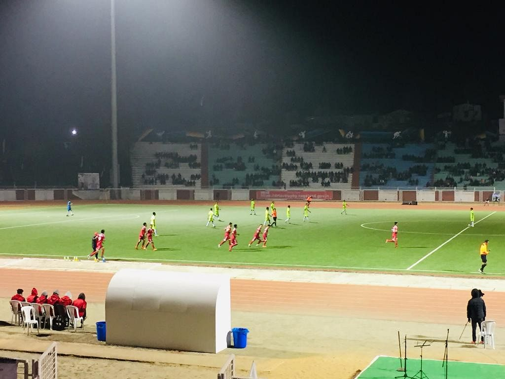 Nagaland team (red) celebrating the second goal