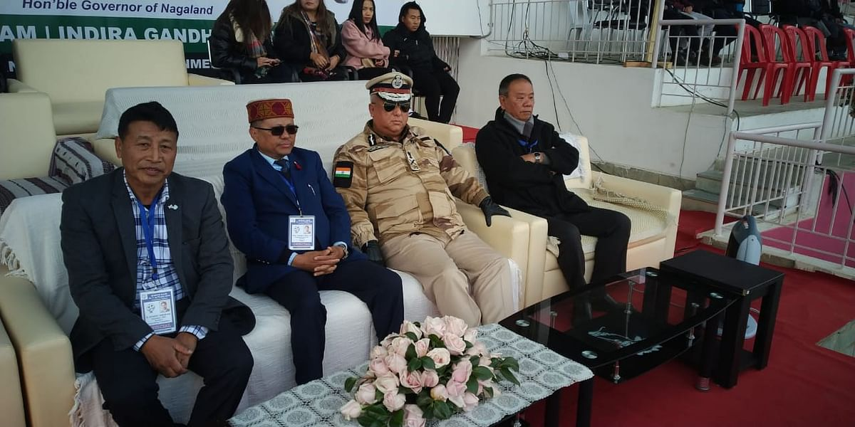 Nagaland DGP T John Longkumer, match patron (second from right), along with other  officials, seated at Indira Gandhi Stadium in Kohima