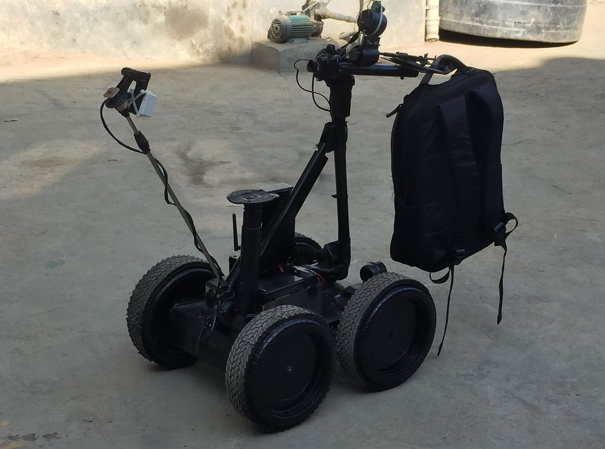 Bomb detector robot being displayed in Imphal