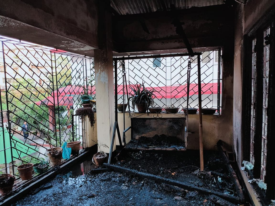 The first floor of the house was completely burnt during the incident