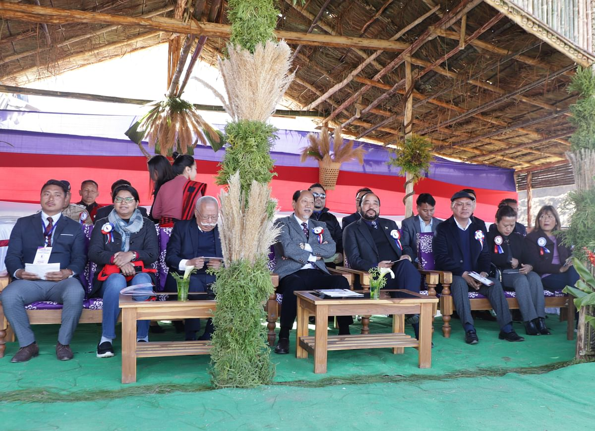 Chief minister Neiphiu Rio, deputy chief minister Y Patton, and others during the Students' conference at Seyochung, Kiphire.