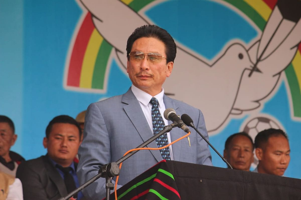 Opposition Naga People's Front (NPF) secretary general Achumbemo Kikon addressing the media at his chamber in Kohima on Monday.