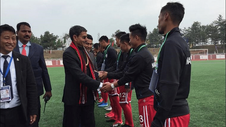Governor RN Ravi greets the players ahead the first match played between Nagaland and Arunachal Pradesh