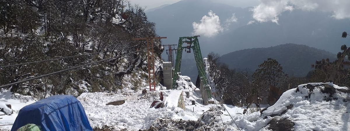 The ropeway connects Dhapper at Upper Yangang to the famous Bhaleydhunga cliff in South Sikkim district