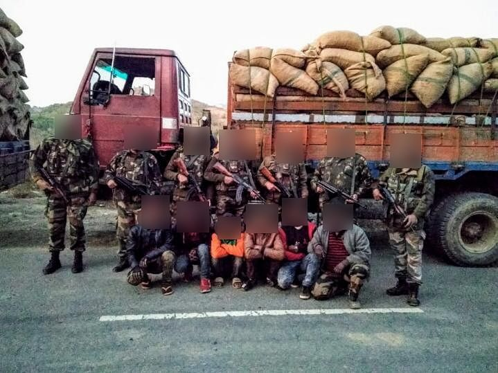 Troops recovered 442 bags of areca nuts from three trucks in Manipur's Thoubal