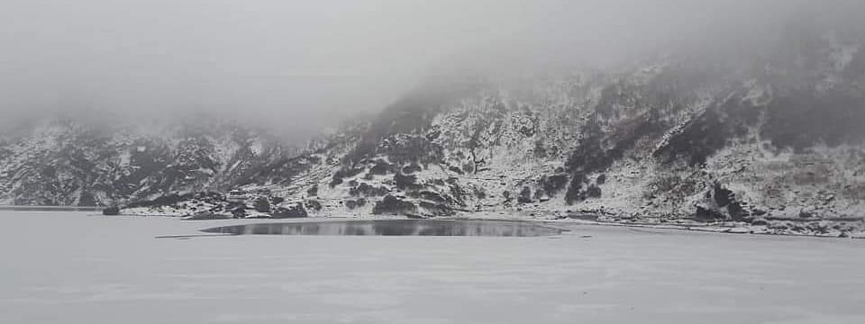 Tsomgo Lake near Nathu La has got frozen due to a sharp drop in temperatures in the region