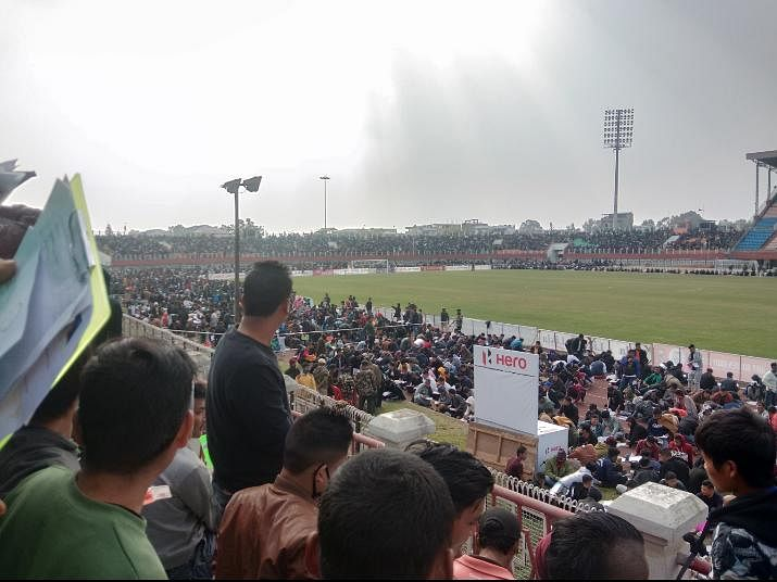 Watching match? No, they are taking test for Manipur police jobs