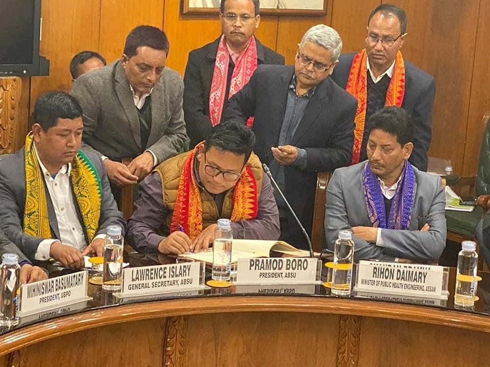 ABSU president Pramod Boro signing the peace accord in New Delhi on Monday
