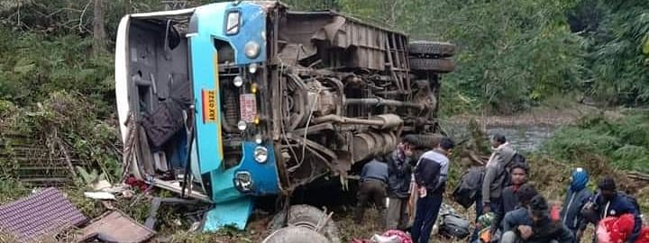 The ill-fated bus that met with an accident near Tirbin town of Arunachal Pradesh's West Siang district