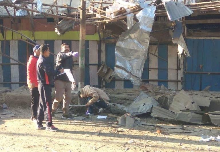 The blast was reported in front of a garment shop on RIMS Road in Imphal on Thursday morning