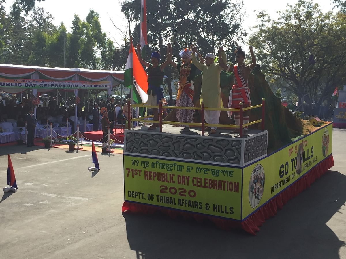 A tableau being displayed on the occasion of the Republic Day on Sunday