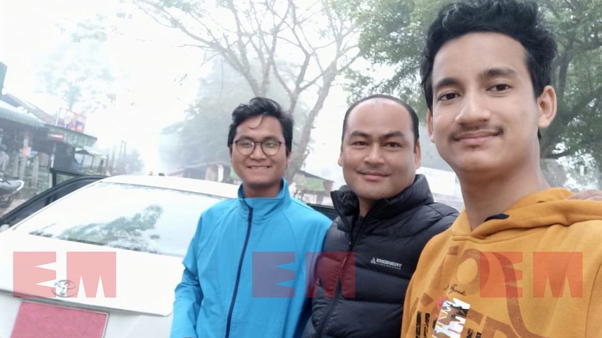 NDFB-S supremo B Saoraigwra (middle) along with two senior representatives from North East Heritage Foundation in Myanmar before starting their journey to New Delhi on January 11, 2020