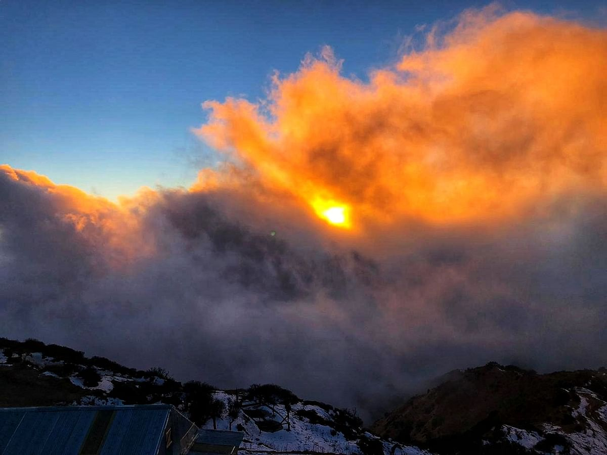 View of the sunset from the sunset point, 1 km trek awayfrom Sandhakphu – probably one of the best views of the sunset in the world