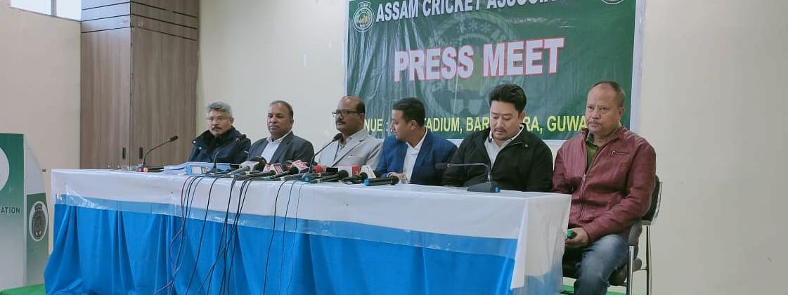 Assam Cricket Association (ACA) general secretary Devajit Saikia addressing media persons in Guwahati on Tuesday