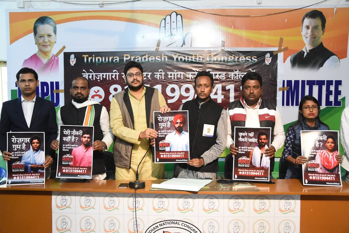 Members of TIPRA addressing a press conference in Agartala on Thursday