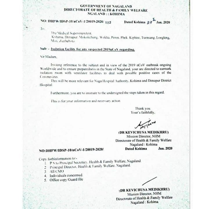 The letter issued by the directorate of health and family welfare to the medical superintendents of all the 11 districts of Nagaland