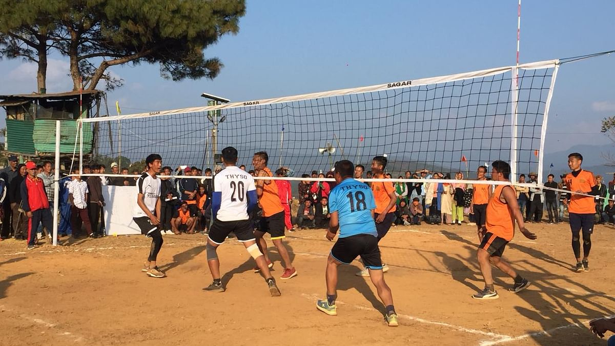 A volleyball match in progress