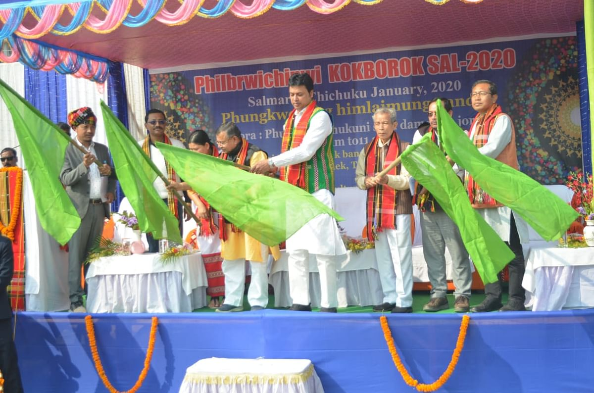 Tripura chief minister Biplab Kumar Deb flagging off a procession on the occasion of 42nd Kokborok Day in Agartala on Sunday