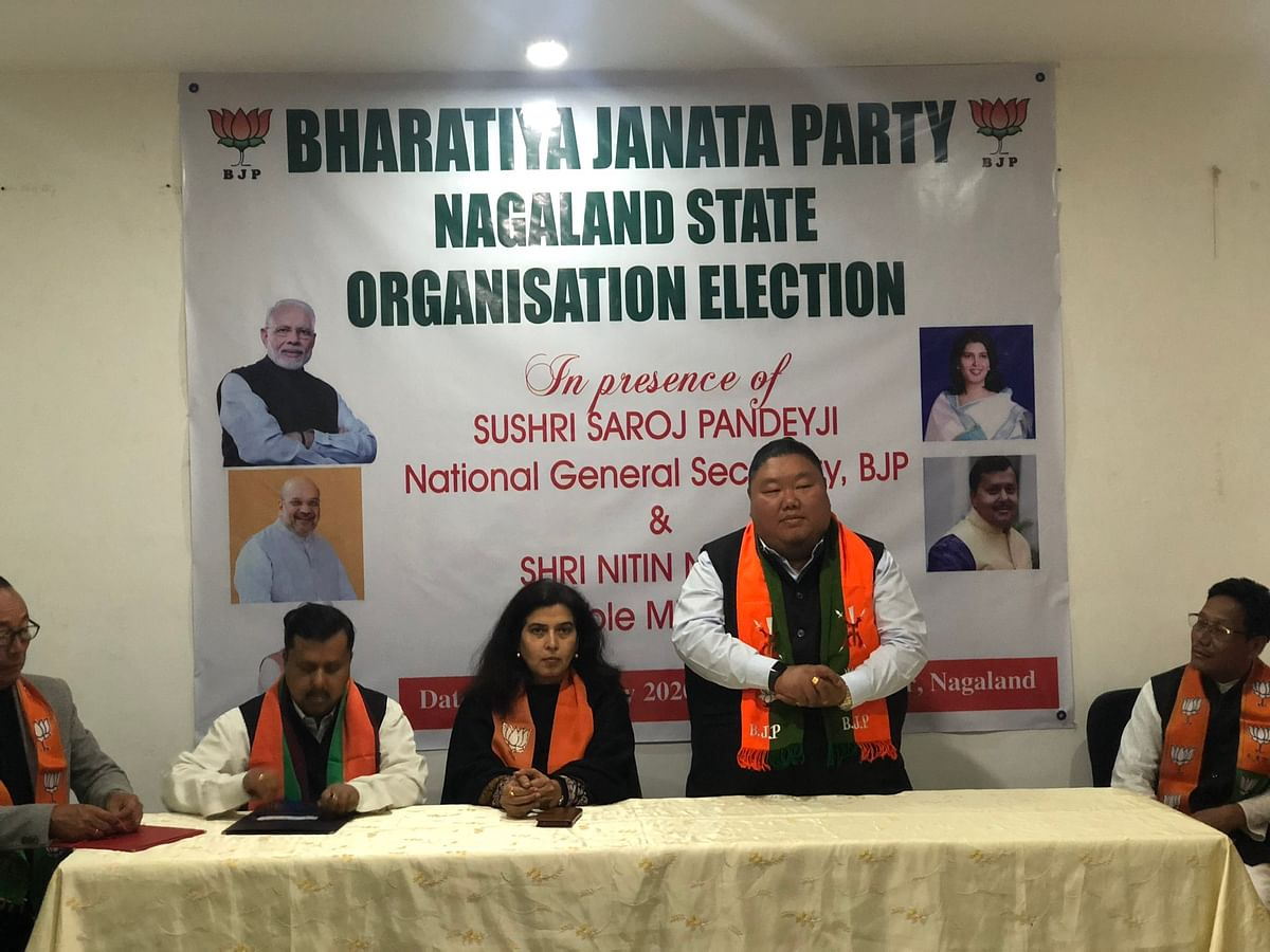 Nagaland minister of higher and technical education and tribal affairs Temjen Imna Along being re-elected as the BJP state president