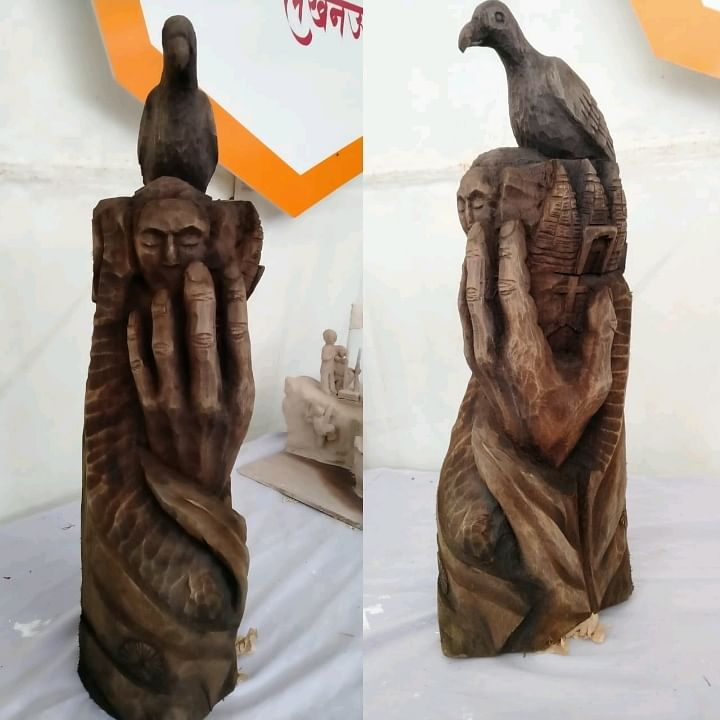 Vikuolelie Keditsu, a self-taught sculptor from Chiechama village under Kohima district, bagged the third position in the national-level sculpting competition for his wood carving piece that took him three days to complete.