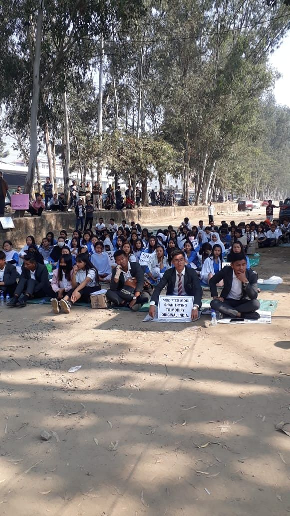 Students participating in the public protest against the Citizenship (Amendment) Act in Dimapur, Nagaland on Saturday