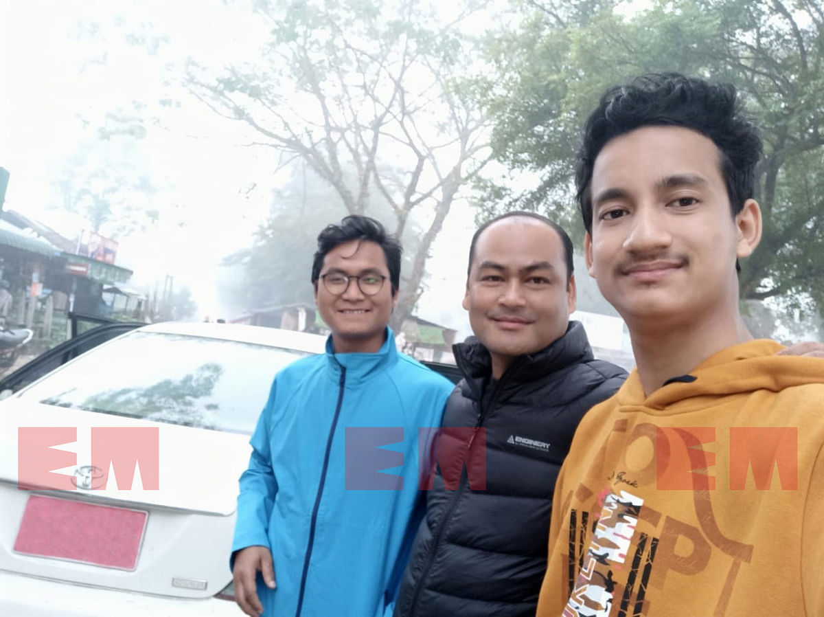 B Saoraigwra, president of NDFB-S (middle), along with two senior representatives from North East Heritage Foundation in Myanmar before starting their journey to New Delhi on January 11, 2020