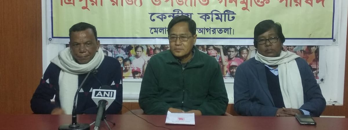 Former MP and Tripura Rajya Upajati Ganamukti Parishad president Jitendra Chaudhury (middle) addressing a press conference in Agartala on Monday