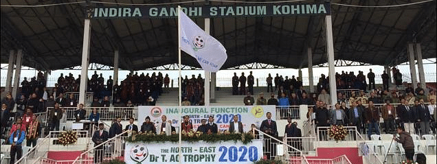 Governor of Nagaland and Meghalaya, RN Ravi, and other state officials stand in attention for the national anthem during the inaugural ceremony of North East Dr T Ao Trophy at Indira Gandhi Stadium in Kohima on Monday