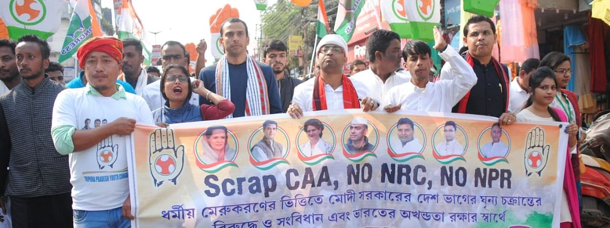Krishna Allavaru, joint secretary of AICC walked on the streets of Agartala in protest against the policies of NDA government