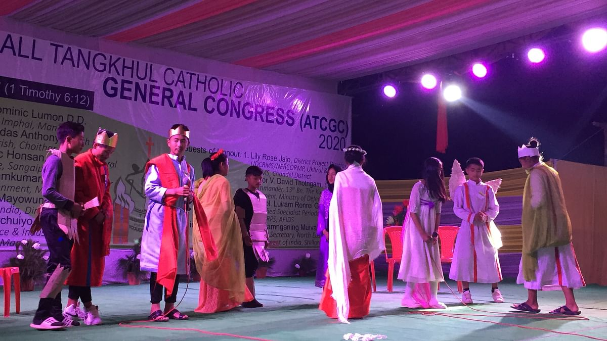 Kids displaying skit during the inaugural event of the 34th ATCGC 2020 at Muirei village in Manipur on Thursday