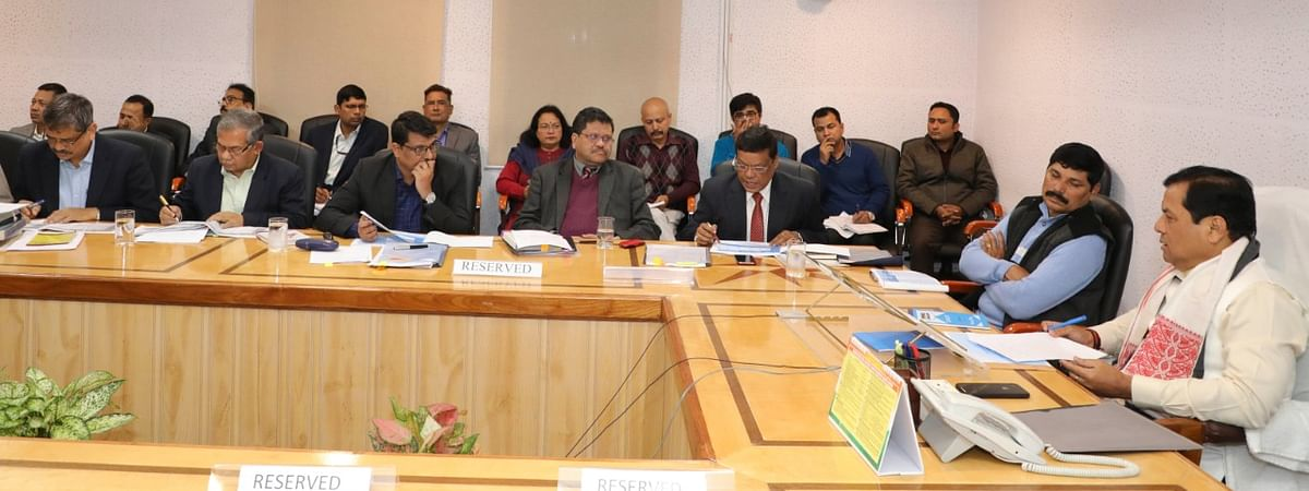 Assam CM Sarbananda Sonowal chairing the meeting with state disaster management and revenue department officials at secretariat on Thursday