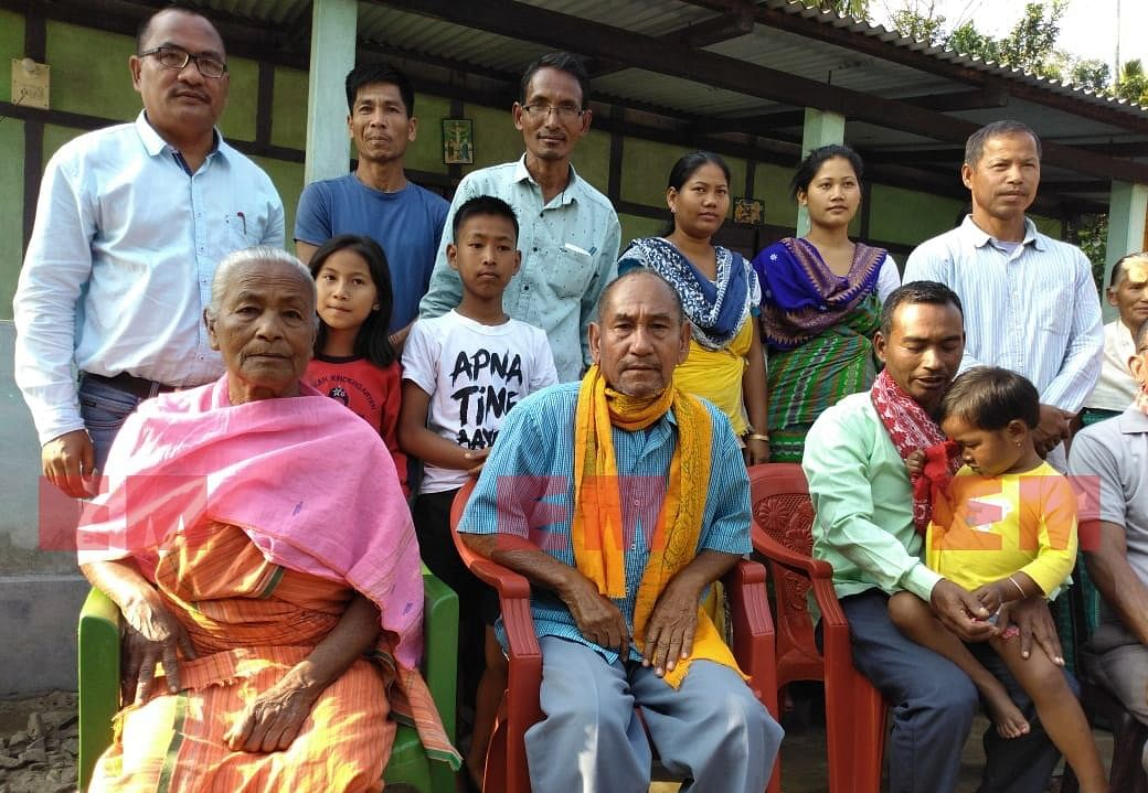 Family members of NDFB-S supremo B Saoraigwra at their residence in Assam's Dangsamari village