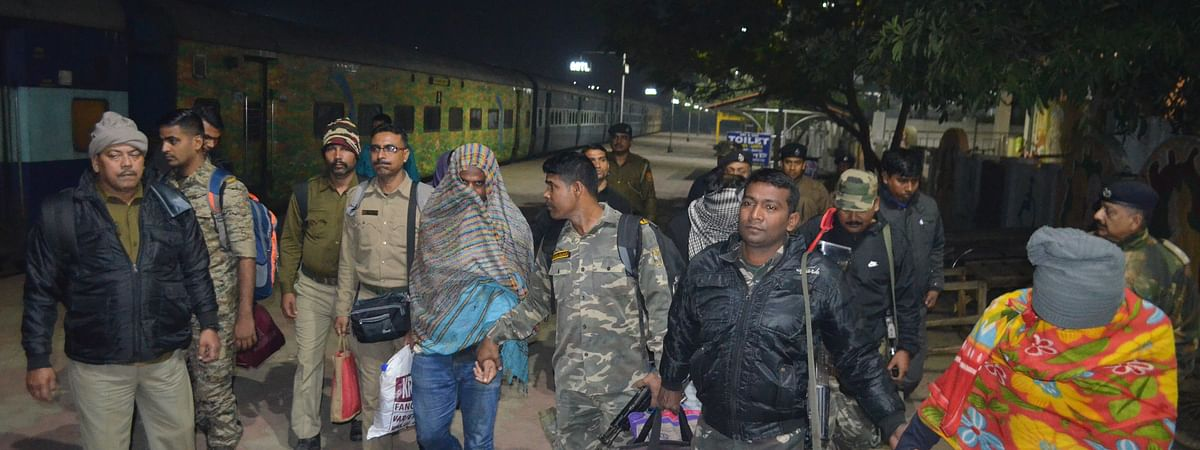 The four accused being brought to Agartala from Kolkata