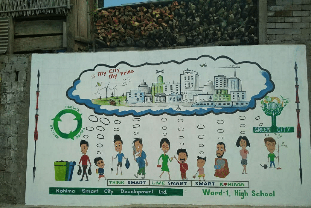 A photo of the wall at High School (Ward 1) that bagged the second position of the wall painting competition organised by the Kohima Smart City Development Limited