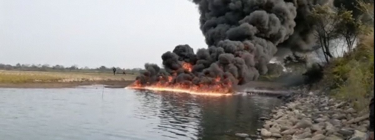 Assam's Burhi Dihing river on fire for the third day in a row