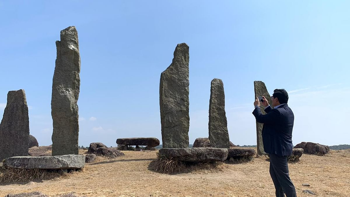 Meghalaya chief minister visited the monolith heritage site at Mawkyrwat on Monday