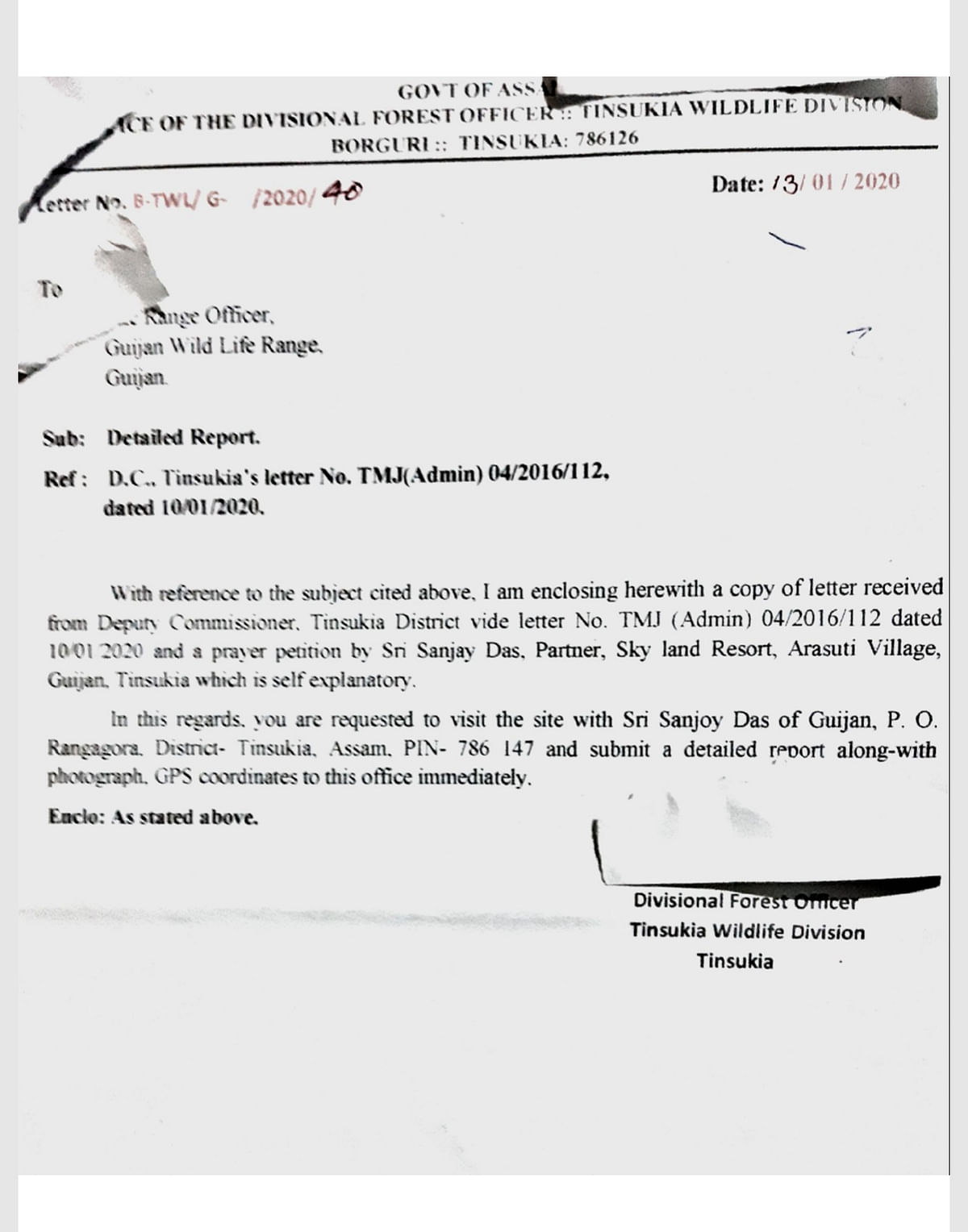 Copy of the letter issued by DFO of Tinsukia Wildlife Division