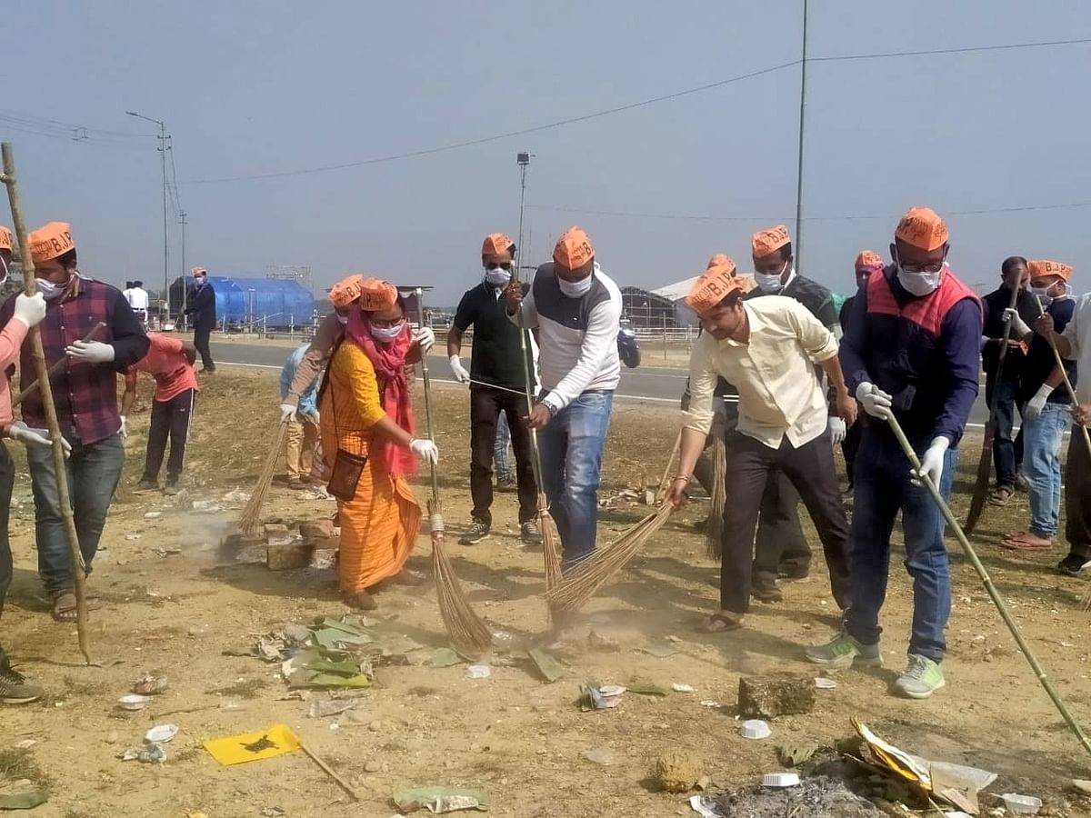 Activist and members of BJP cleaning area in Kokrajhar