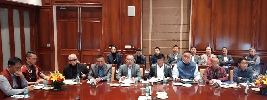 A high-level delegation of the Working Committee (WC) of the NNPGs meeting interlocutor and Nagaland governor RN Ravi in New Delhi on February 24