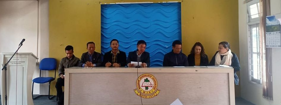 Founding members of Mizoram Civil Services Aspirant's Society (MICSACS) interacting with media