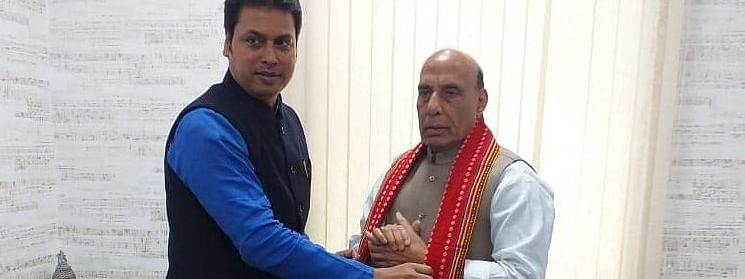 Union defence minister Rajnath Singh with chief minister Biplab Kumar Deb in New Delhi